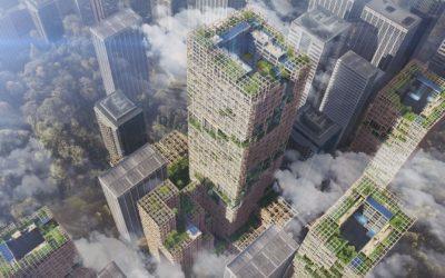 En 2024, le groupe japonais Sumitomo espère utiliser le CLT pour construire un gratte-ciel en bois de 70 étages à Tokyo, la ville la plus exposée au monde en matière de tremblement de terre (Image Sumitomo Group).